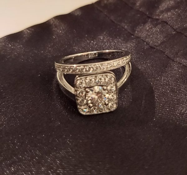 Superbe bague double anneau or et diamant