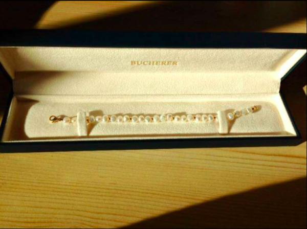 Bracelet or jaune et perles Bücherer