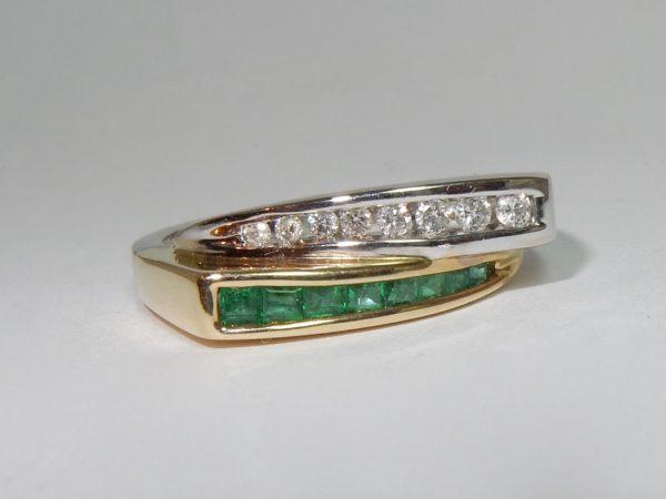 Bague 2 rangs en Or avec Diamants et Emeraudes