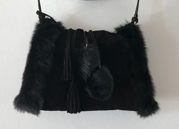 Sac en bandoulière / chauffe main - Noir / Cuir suède et fourrure - Ralph Lauren Collection