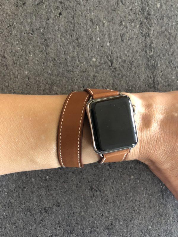 Bracelet Apple Watch Hermès Double Tour 40 mm Attelage couleur Fauve (sans la montre)