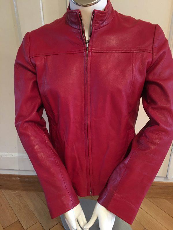 Veste 100% cuir rouge